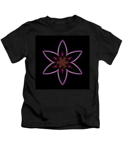 Purple Echinacea Flower Mandala Kids T-Shirt