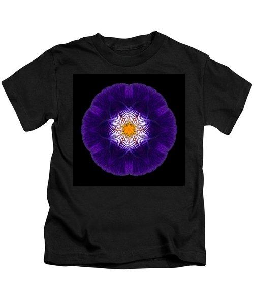 Purple Iris II Flower Mandala Kids T-Shirt