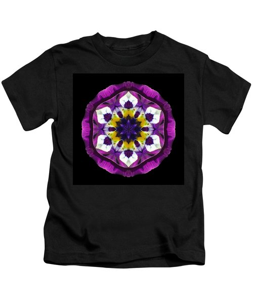 Purple Pansy II Flower Mandala Kids T-Shirt