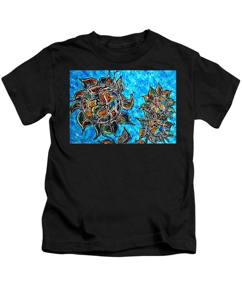 Rainbow Color Sunflowers Alcohol Inks Kids T-Shirt
