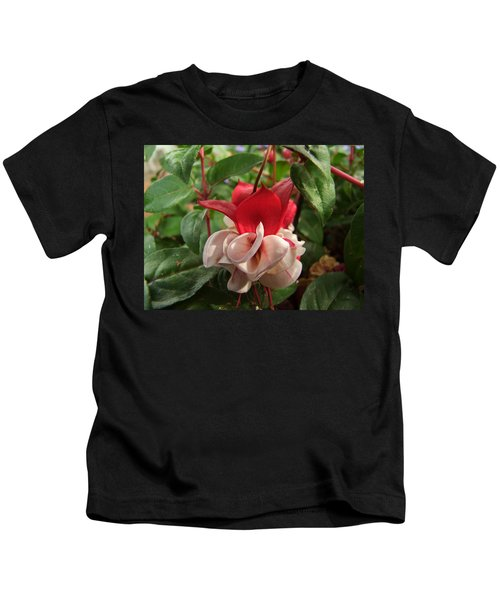 Red And White Fuschia Kids T-Shirt