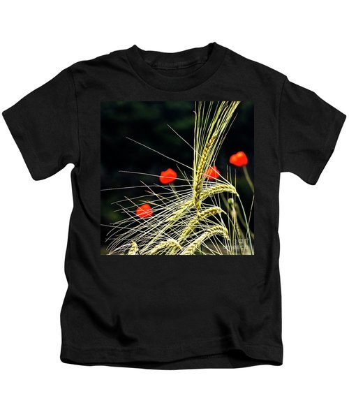 Red Corn Poppies Kids T-Shirt