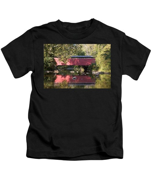 Red Fairhill Covered Bridge Two Kids T-Shirt