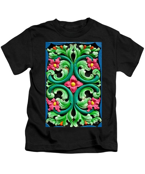 Red Green And Blue Floral Design Singapore Kids T-Shirt
