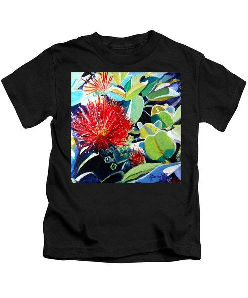Red Ohia Lehua Flower Kids T-Shirt