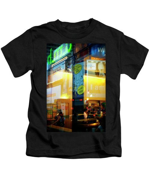 Reflection In Window, Times Square, Nyc Kids T-Shirt