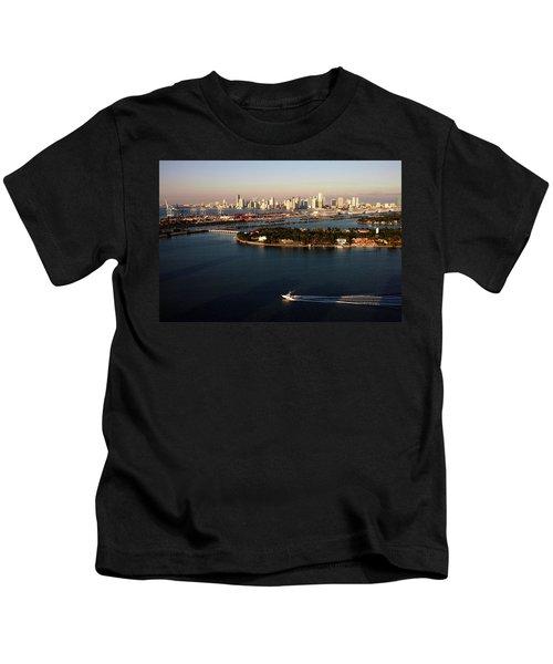 Retro Style Miami Skyline Sunrise And Biscayne Bay Kids T-Shirt