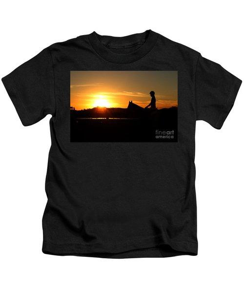 Riding At Sunset Kids T-Shirt