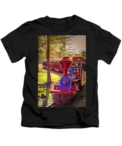 Riding Out Of The Sunset On The Hermann Park Train Kids T-Shirt