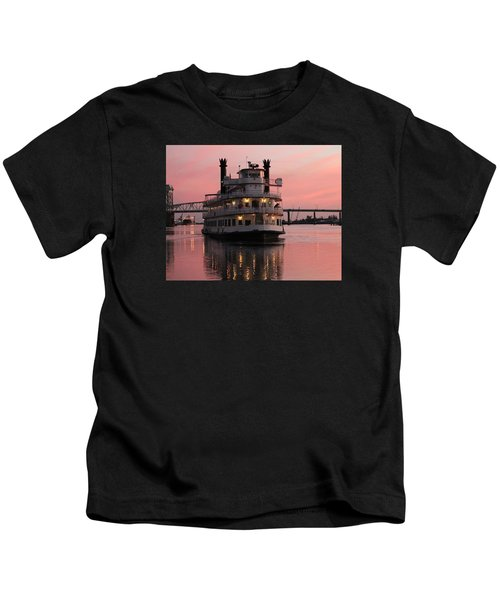 Riverboat At Sunset Kids T-Shirt