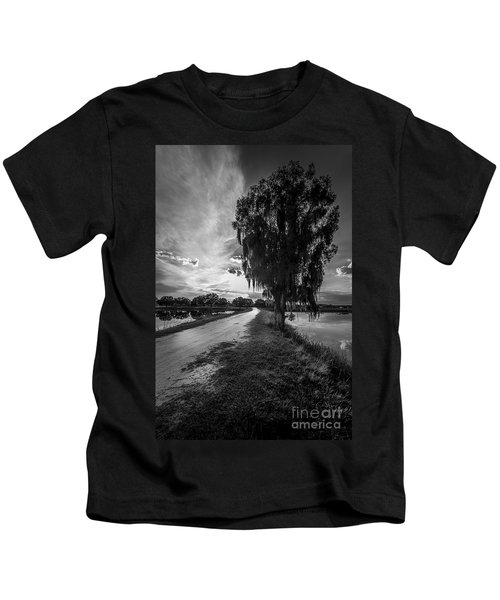 Road Into The Light-bw Kids T-Shirt