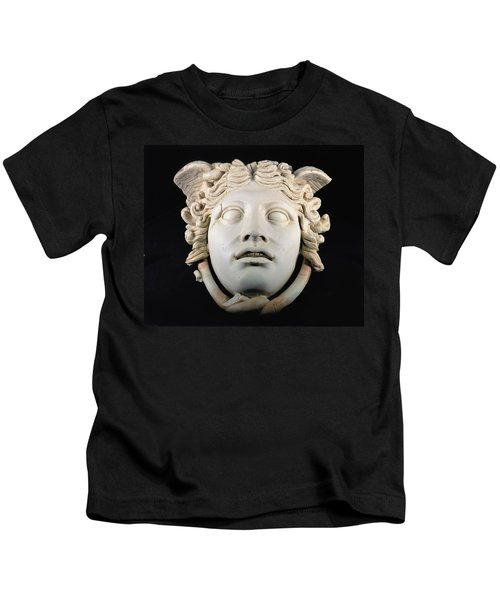 Rondanini Medusa, Copy Of A 5th Century Bc Greek Marble Original, Roman Plaster Kids T-Shirt by .