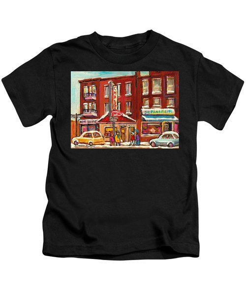 Rotisserie Le Chalet Bar B Q Sherbrooke West Montreal Winter City Scene Kids T-Shirt