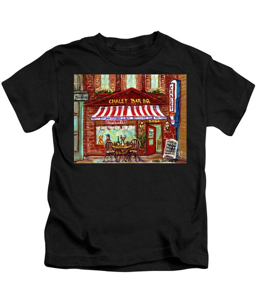 Rotisserie Le Chalet Bbq Restaurant Paintings Storefronts Street Scenes Diners Montreal Art Cspandau Kids T-Shirt