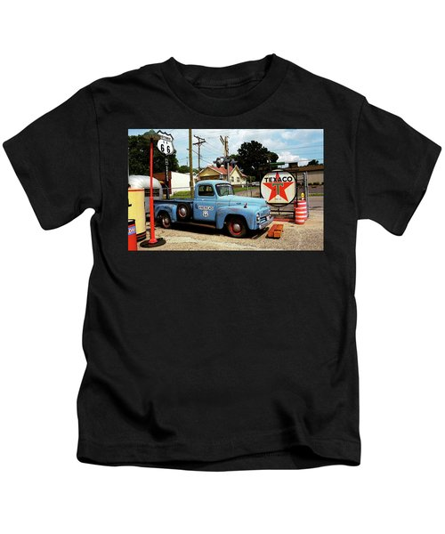 Route 66 - Gas Station With Watercolor Effect Kids T-Shirt