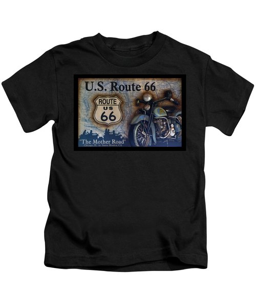 Route 66 Odell Il Gas Station Motorcycle Signage Kids T-Shirt