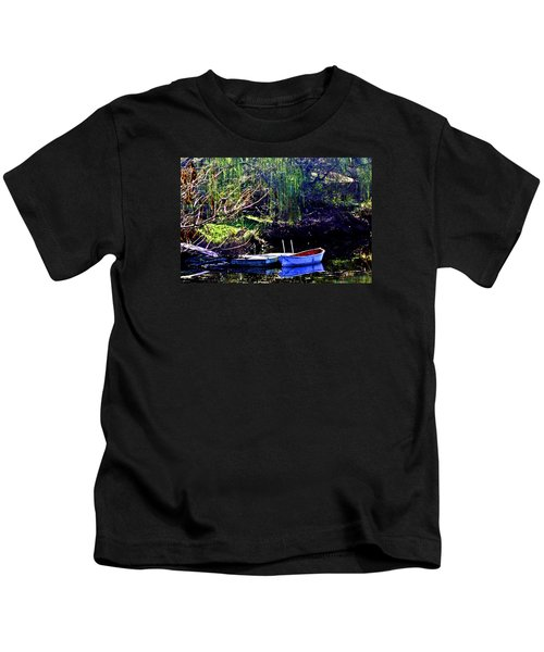 Row Boat At Dock Kids T-Shirt