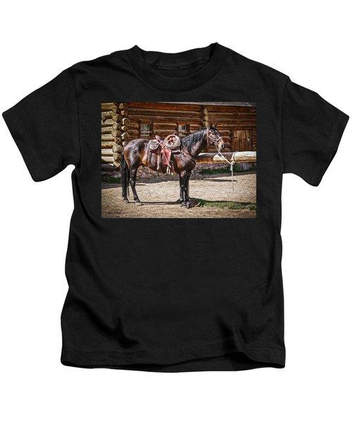 Saddled And Waiting Kids T-Shirt