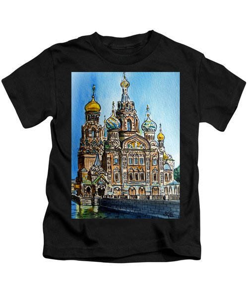 Saint Petersburg Russia The Church Of Our Savior On The Spilled Blood Kids T-Shirt