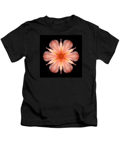 Salmon Daylily I Flower Mandala Kids T-Shirt