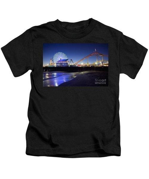 Santa Monica Pier At Night Kids T-Shirt