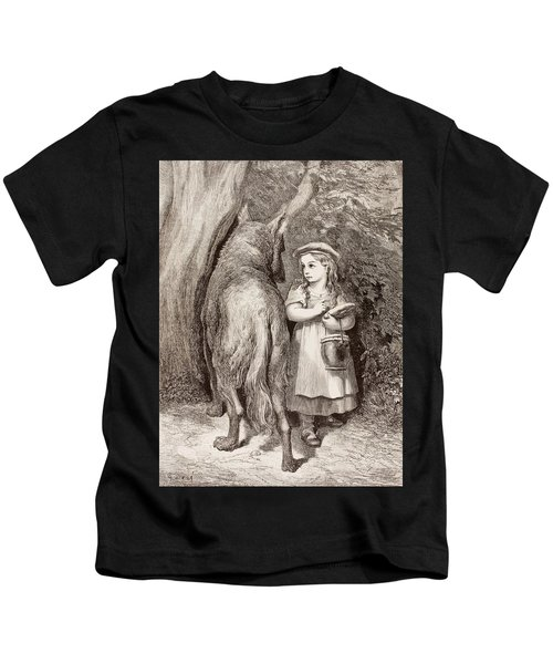 Scene From Little Red Riding Hood Kids T-Shirt