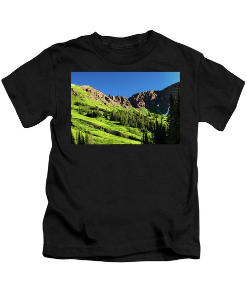 Scenic View Of Trees On Mountain Kids T-Shirt