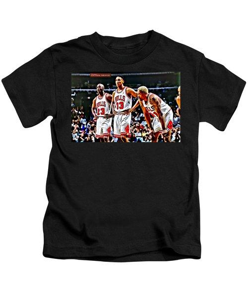 Scottie Pippen With Michael Jordan And Dennis Rodman Kids T-Shirt