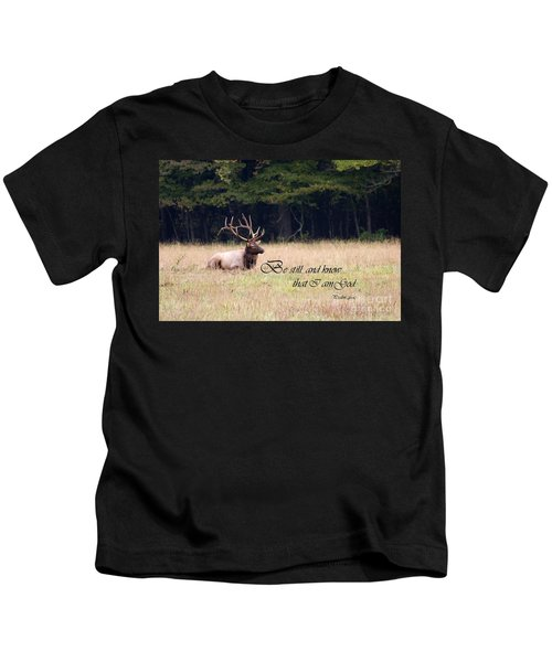 Scripture Photo With Elk Sitting Kids T-Shirt