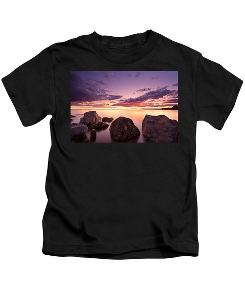 Sea At Sunset The Sky Is In Beautiful Dramatic Color Kids T-Shirt