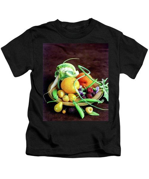 Seasonal Fruit And Vegetables Kids T-Shirt by Romulo Yanes