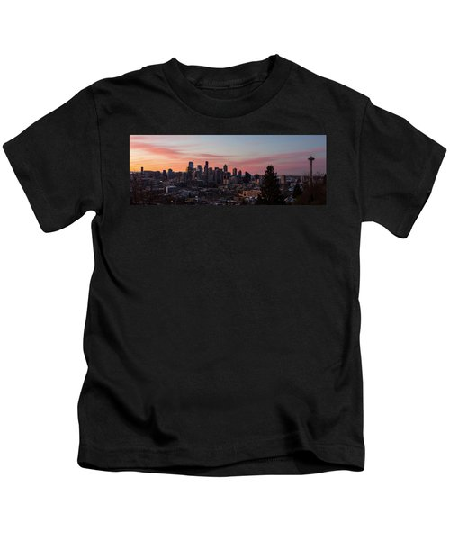 Seattle Cityscape Sunrise Kids T-Shirt