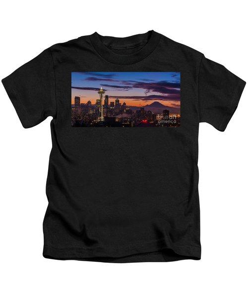 Seattle Fog Sunrise Purples Kids T-Shirt