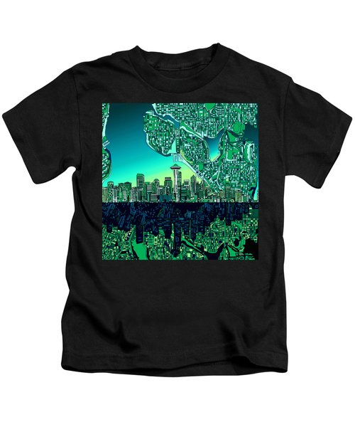 Seattle Skyline Abstract Kids T-Shirt