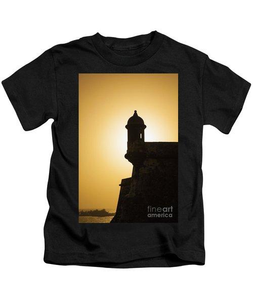Sentry Box At Sunset At El Morro Fortress In Old San Juan Kids T-Shirt