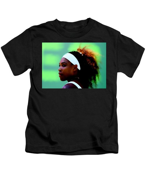Serena Williams Match Point Kids T-Shirt by Brian Reaves