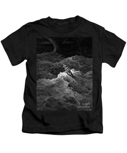 Ship In Stormy Sea Kids T-Shirt