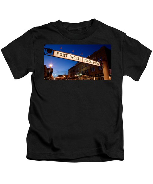 Signboard Over A Road At Dusk, Fort Kids T-Shirt