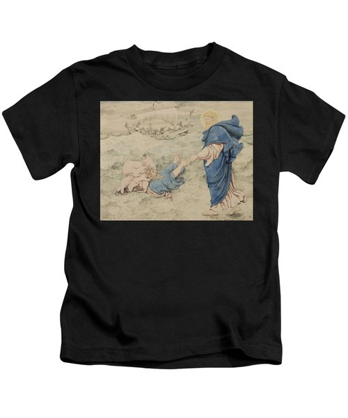 Sketch Of Christ Walking On Water Kids T-Shirt