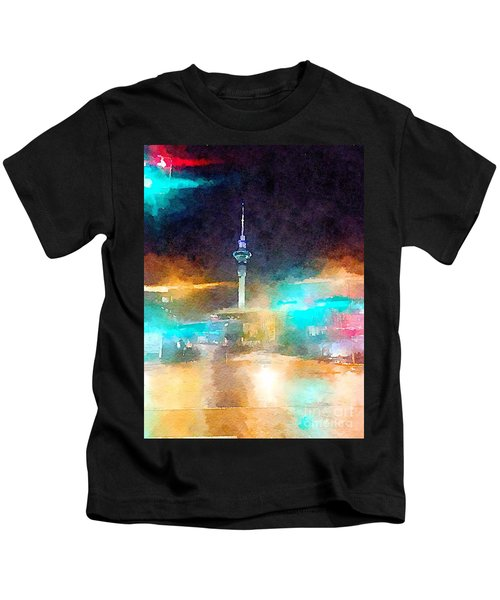 Sky Tower By Night Kids T-Shirt