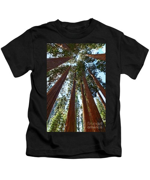 Skyscrapers - A Grove Of Giant Sequoia Trees In Sequoia National Park In California Kids T-Shirt