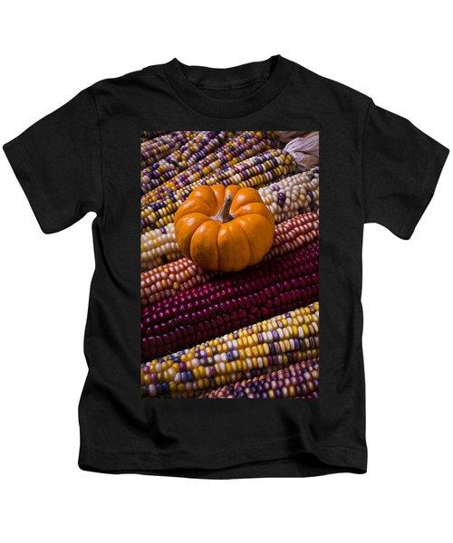 Small Pumpkin And Indian Corn Kids T-Shirt