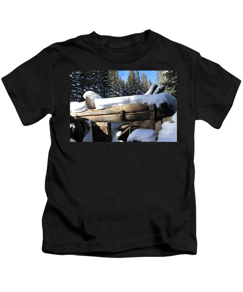Snow Covered Cabin Kids T-Shirt