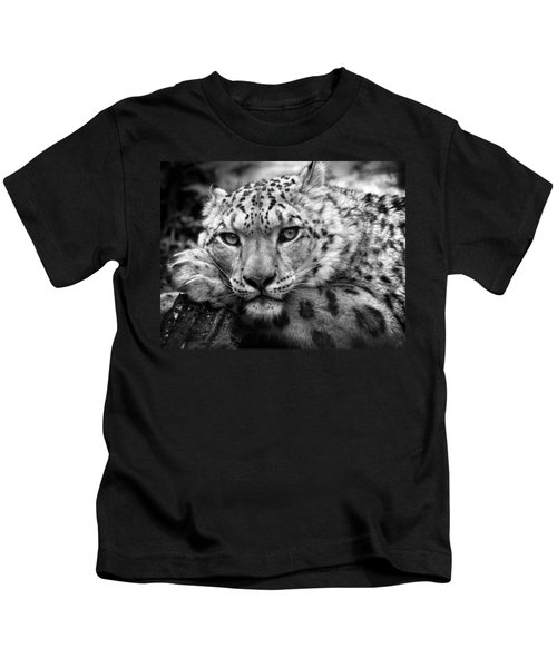 Snow Leopard In Black And White Kids T-Shirt