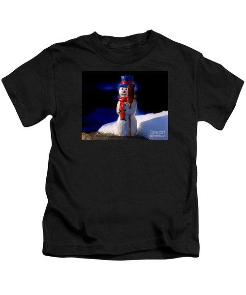Snowman By George Wood Kids T-Shirt