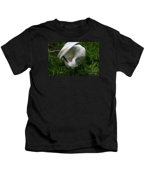 Snowy Egret Preening Kids T-Shirt