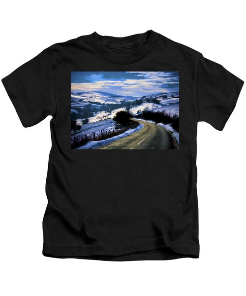 Snowy Scene And Rural Road Kids T-Shirt