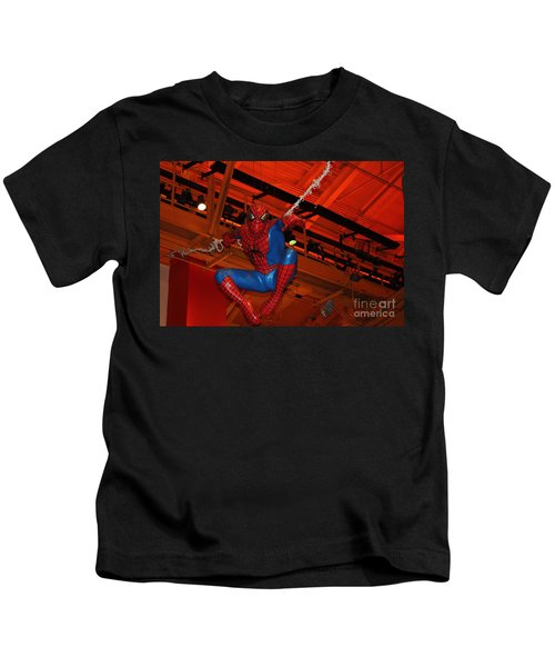 Spiderman Swinging Through The Air Kids T-Shirt