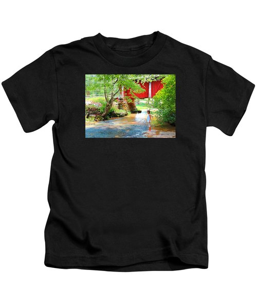Standing By The River At Campbell's Bridge Kids T-Shirt