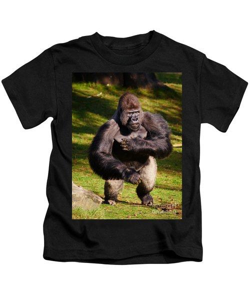 Standing Silverback Gorilla Kids T-Shirt